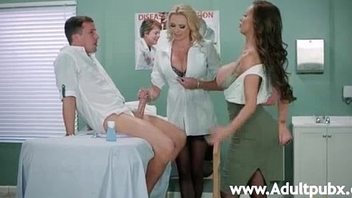 Three busty doctors Nikki Benz and Briana Banks sucking twosome prick