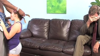 Natasha Nice takes black cock in front be advisable for her father