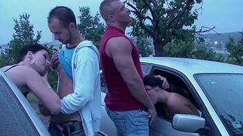 Real PUBLIC sexual congress orgy with a very pregnant girl through the cars windows