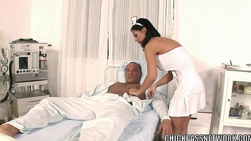 Slutty nurse Black Angelika fucks in the hospital bed