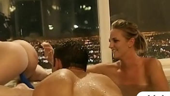 Group of singles having fun on touching the bathtub and on touching bed
