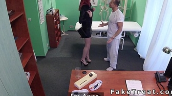 Tall redhead student sucks and fucks doctor