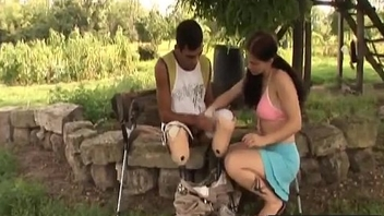 Handicapped guy gets random with hot brunette slut-3