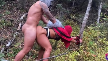 Big ass red riding MILF hood gets fucked by a scalding wolf  before she gets to grandma house