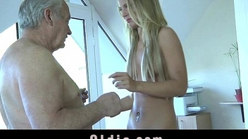 Young maid mouth abounding in cumshot after fucking boss old cock on the office