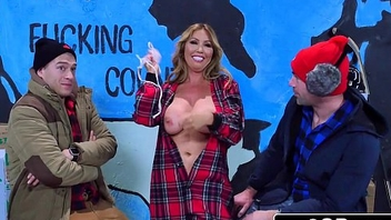 Exotic Canadian MILF Kianna Dior Takes Two Cocks During a TV Thing